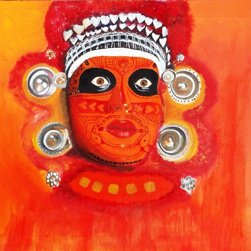shree vishnoomurthi theyyam, 28 x 20 inch, rahul kumawat,figurative paintings,paintings for living room,canvas,oil,28x20inch,GAL0126306
