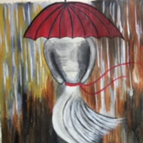 girl in the rain, 11 x 14 inch, p sisira,abstract paintings,paintings for bedroom,thick paper,acrylic color,11x14inch,GAL011603060