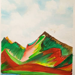 the red mountains, 8 x 11 inch, nandita basu,8x11inch,fabriano sheet,paintings,landscape paintings,nature paintings | scenery paintings,paintings for dining room,paintings for office,paintings for kitchen,paintings for school,paintings for hospital,acrylic color,mixed media,paper,GAL01781130601
