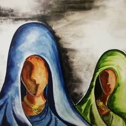 women mood, 28 x 20 inch, ruchi singh,28x20inch,canvas,figurative paintings,folk art paintings,paintings for living room,paintings for living room,oil color,GAL0345830606