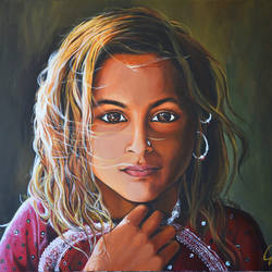 desert beauty, 30 x 24 inch, sushama  chakravarty,30x24inch,canvas,paintings,figurative paintings,portrait paintings,paintings for living room,acrylic color,GAL01906230613