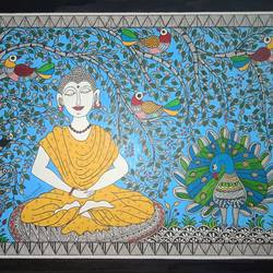 buddha and bodhi tree, 15 x 11 inch, meenakshi  karanwal,15x11inch,handmade paper,madhubani paintings | madhubani art,paintings for living room,paintings for hotel,paintings for living room,paintings for hotel,acrylic color,GAL01835830626
