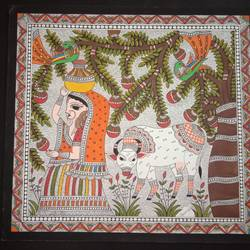 gopi in madhuban, 15 x 15 inch, meenakshi  karanwal,15x15inch,handmade paper,paintings,madhubani paintings | madhubani art,paintings for dining room,paintings for living room,paintings for bedroom,paintings for hotel,paintings for dining room,paintings for living room,paintings for bedroom,paintings for hotel,poster color,GAL01835830627