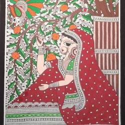 madhubani girl painting, 10 x 22 inch, meenakshi  karanwal,10x22inch,handmade paper,paintings,madhubani paintings | madhubani art,paintings for dining room,paintings for living room,paintings for bedroom,paintings for hotel,poster color,GAL01835830628
