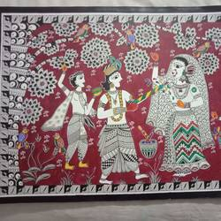 radha krishna holi madhubani painting, 22 x 15 inch, meenakshi  karanwal,22x15inch,brazilian paper,paintings,madhubani paintings | madhubani art,paintings for dining room,paintings for living room,paintings for bedroom,paintings for hotel,acrylic color,GAL01835830629