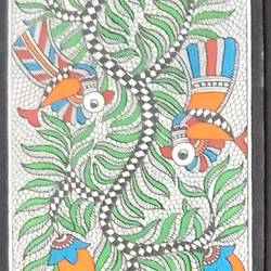 birds madhubani painting, 5 x 22 inch, meenakshi  karanwal,5x22inch,handmade paper,paintings,madhubani paintings | madhubani art,paintings for dining room,paintings for bedroom,paintings for office,paintings for hotel,paintings for hospital,poster color,GAL01835830630
