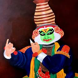 religious dancer, 29 x 35 inch, revathy r,29x35inch,canvas,paintings,folk art paintings,radha krishna paintings,paintings for dining room,paintings for living room,paintings for bedroom,paintings for office,paintings for hotel,paintings for school,acrylic color,GAL01321430631