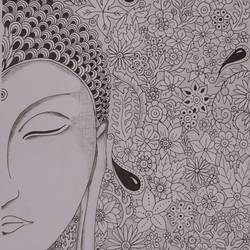buddha in zentangle style, 10 x 17 inch, ajay kumar thakur,buddha drawings,paintings for living room,drawing paper,pen color,10x17inch,GAL011693064