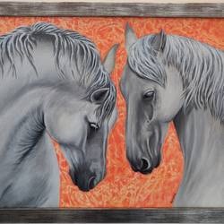 playful horses, 20 x 16 inch, mrinalini shingal,20x16inch,canvas board,paintings,wildlife paintings,animal paintings,horse paintings,paintings for living room,paintings for bedroom,paintings for hotel,acrylic color,GAL01898330641