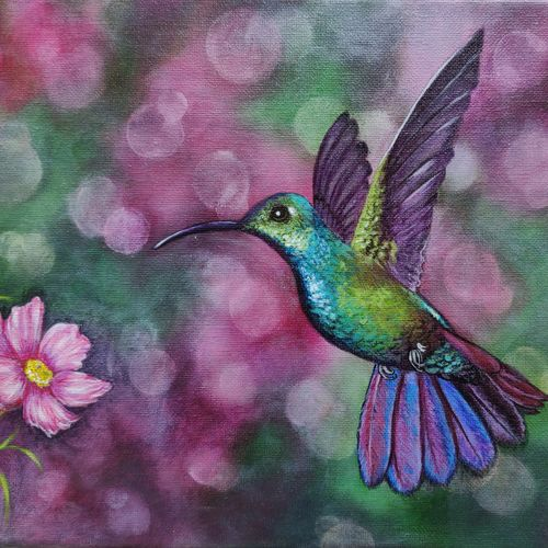 hummingbird, 12 x 9 inch, mrinalini shingal,12x9inch,canvas,paintings,wildlife paintings,nature paintings | scenery paintings,animal paintings,paintings for dining room,paintings for living room,paintings for bedroom,paintings for office,acrylic color,GAL01898330642