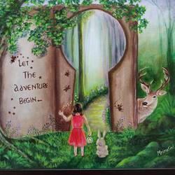 unlock your world of fantasy, 12 x 16 inch, mrinalini shingal,12x16inch,canvas board,paintings,nature paintings | scenery paintings,illustration paintings,surrealism paintings,animal paintings,children paintings,kids paintings,paintings for kids room,paintings for school,acrylic color,GAL01898330643
