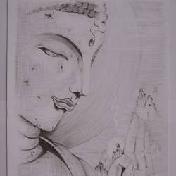essence of lord buddha, 12 x 17 inch, ajay kumar thakur,buddha drawings,paintings for living room,drawing paper,pencil color,12x17inch,GAL011693065