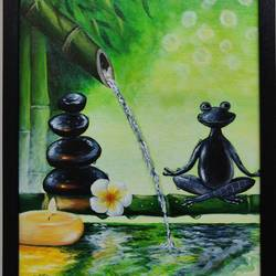 zen frog meditating, 12 x 16 inch, mrinalini shingal,12x16inch,canvas board,paintings,nature paintings | scenery paintings,realism paintings,animal paintings,water fountain paintings,paintings for dining room,paintings for living room,paintings for office,paintings for hotel,paintings for school,paintings for hospital,acrylic color,GAL01898330650