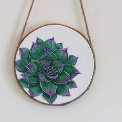 succulent painting, 8 x 8 inch, mrinalini shingal,8x8inch,canvas,paintings,flower paintings,realism paintings,realistic paintings,paintings for dining room,paintings for office,paintings for bathroom,paintings for hotel,paintings for kitchen,paintings for school,acrylic color,GAL01898330651