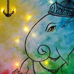 light up canvas ganesh painting, 11 x 14 inch, mrinalini shingal,11x14inch,canvas,handicrafts,wall hangings,religious paintings,ganesha paintings | lord ganesh paintings,paintings for living room,paintings for bedroom,paintings for office,paintings for hotel,paintings for school,paintings for hospital,acrylic color,GAL01898330653