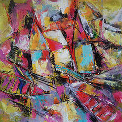 ghats & boats, 23 x 23 inch, prasanta acharjee,23x23inch,canvas,paintings,abstract paintings,landscape paintings,modern art paintings,abstract expressionism paintings,cubism paintings,expressionism paintings,paintings for dining room,paintings for living room,paintings for bedroom,paintings for office,paintings for hotel,paintings for hospital,acrylic color,GAL0360530654