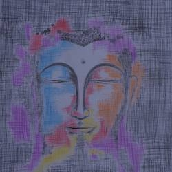 abstract buddha, 12 x 17 inch, ajay kumar thakur,buddha drawings,paintings for living room,drawings,drawing paper,pencil color,12x17inch,GAL011693066