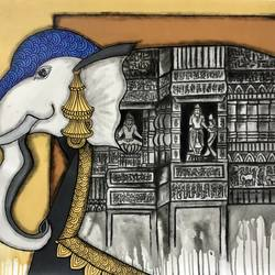 gajraj , 30 x 36 inch, mrinal  dutt,30x36inch,canvas,paintings,conceptual paintings,religious paintings,contemporary paintings,elephant paintings,paintings for dining room,paintings for living room,paintings for bedroom,paintings for office,paintings for bathroom,paintings for kids room,paintings for hotel,paintings for kitchen,paintings for school,paintings for hospital,acrylic color,charcoal,GAL01311730665