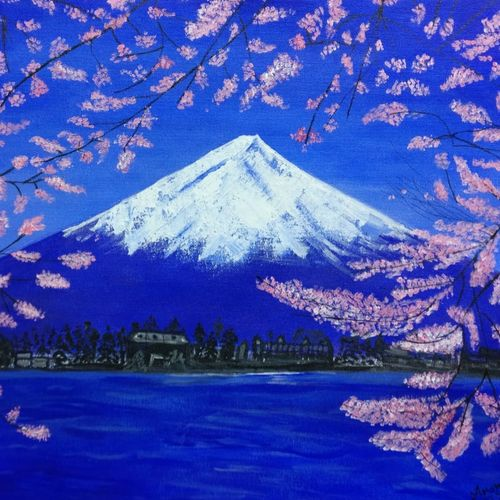 mount fuji, 18 x 22 inch, ananya amara,18x22inch,canvas,paintings,nature paintings | scenery paintings,realistic paintings,paintings for living room,paintings for bedroom,paintings for office,paintings for hotel,paintings for school,acrylic color,GAL01861630666