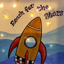 reach for the stars motivational painting, 9 x 12 inch, mrinalini shingal,9x12inch,canvas,paintings,illustration paintings,surrealism paintings,children paintings,kids paintings,paintings for kids room,paintings for school,acrylic color,GAL01898330669