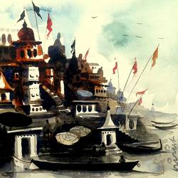varanasi ghat 11, 10 x 7 inch, girish chandra vidyaratna,landscape paintings,paintings for living room,renaissance watercolor paper,watercolor,10x7inch,GAL0363067