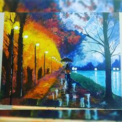 nature walk, 20 x 16 inch, kajal lahariya,20x16inch,canvas,paintings,nature paintings | scenery paintings,paintings for dining room,paintings for living room,paintings for hotel,paintings for hospital,acrylic color,GAL01912030674