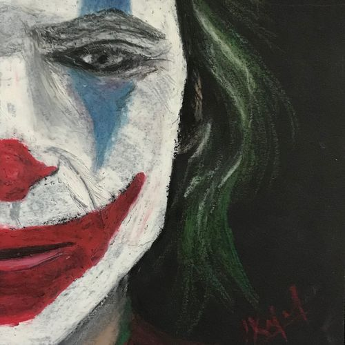 joker, 8 x 5 inch, kajal lahariya,8x5inch,handmade paper,paintings,expressionism paintings,paintings for dining room,paintings for living room,paintings for bedroom,paintings for office,paintings for bathroom,pastel color,GAL01912030677