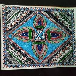 lyf in water, 12 x 10 inch, rayana saha,12x10inch,drawing paper,paintings,madhubani paintings | madhubani art,paintings for dining room,paintings for living room,paintings for hotel,pen color,GAL01304630684
