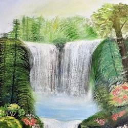 waterfall, 24 x 12 inch, parul mathur,24x12inch,canvas,landscape paintings,oil color,GAL01914130692