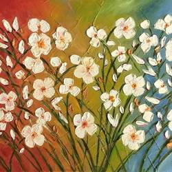 a bunch of flowers, 24 x 12 inch, parul mathur,24x12inch,canvas,paintings,flower paintings,oil color,GAL01914130693