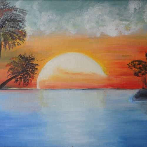 secluded sunrise, 18 x 14 inch, parul mathur,18x14inch,canvas,landscape paintings,paintings for dining room,paintings for living room,paintings for office,paintings for dining room,paintings for living room,paintings for office,oil color,GAL01914130697