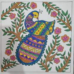 peacock, 15 x 15 inch, pinaze s  mitra,15x15inch,handmade paper,madhubani paintings | madhubani art,photo ink,GAL01915430698