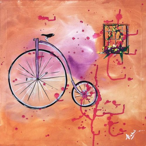 big cycle , 18 x 18 inch, rahul kumawat,abstract paintings,paintings for bedroom,canvas,acrylic color,18x18inch,GAL0126307