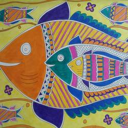 fishes, 33 x 24 inch, pinaze s  mitra,33x24inch,handmade paper,madhubani paintings | madhubani art,paintings for living room,paintings for office,paintings for hotel,paintings for school,paintings for living room,paintings for office,paintings for hotel,paintings for school,ink color,GAL01915430700