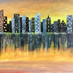 cityscape, 30 x 20 inch, parul mathur,30x20inch,canvas,cityscape paintings,oil color,GAL01914130704