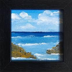 sea, 4 x 4 inch, dr. ahefaz mulani,4x4inch,canvas board,landscape paintings,miniature painting.,acrylic color,GAL01865730705