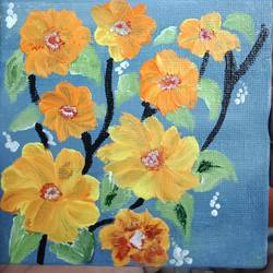 flora, 4 x 4 inch, dr. ahefaz mulani,4x4inch,canvas board,miniature painting.,acrylic color,GAL01865730707