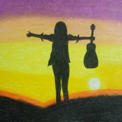 girl with guitar , 8 x 12 inch, sadaf anees antulay,8x12inch,thick paper,paintings,abstract paintings,poster color,GAL0527530724