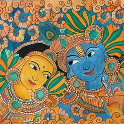 krishna mural, 12 x 17 inch, sulatha  shenoy,12x17inch,brustro watercolor paper,radha krishna paintings,kerala murals painting,paintings for dining room,paintings for living room,paintings for bedroom,paintings for dining room,paintings for living room,paintings for bedroom,ink color,watercolor,paper,GAL01857930732