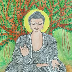 buddha, 17 x 12 inch, sulatha  shenoy,17x12inch,brustro watercolor paper,paintings,buddha paintings,paintings for dining room,paintings for living room,paintings for bedroom,paintings for office,paintings for hotel,paintings for hospital,pen color,watercolor,paper,GAL01857930733