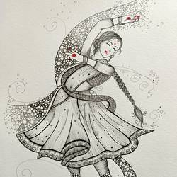 kathak, 8 x 11 inch, sulatha  shenoy,8x11inch,brustro watercolor paper,drawings,paintings for dining room,paintings for living room,paintings for bedroom,paintings for school,fine art drawings,portrait drawings,paintings for dining room,paintings for living room,paintings for bedroom,paintings for school,ball point pen,paper,GAL01857930735