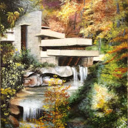the falling water, 9 x 11 inch, sonal sahai,9x11inch,canvas,paintings,landscape paintings,photorealism,realistic paintings,water fountain paintings,paintings for dining room,paintings for living room,paintings for bedroom,paintings for office,paintings for hotel,paintings for school,paintings for hospital,oil color,GAL01867230751