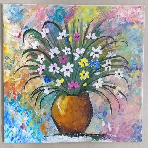 flower vase, 16 x 16 inch, poonam singhal,16x16inch,canvas,paintings,abstract paintings,flower paintings,still life paintings,abstract expressionism paintings,impressionist paintings,paintings for dining room,paintings for living room,paintings for bedroom,paintings for office,paintings for bathroom,paintings for kids room,paintings for hotel,paintings for kitchen,paintings for school,paintings for hospital,acrylic color,oil color,GAL0243630752