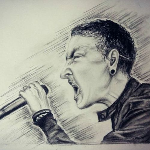 linkin park, 17 x 12 inch, sonal sahai,17x12inch,thick paper,drawings,photorealism drawings,portrait drawings,paintings for dining room,paintings for living room,paintings for bedroom,paintings for office,paintings for kids room,paintings for hotel,paintings for school,charcoal,paper,GAL01867230760