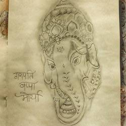 ganesha sketch, 12 x 16 inch, anjali pathak,12x16inch,thick paper,drawings,radha krishna drawings,ganesha drawings,paintings for dining room,paintings for living room,paintings for bedroom,paintings for kids room,paintings for hotel,paintings for kitchen,paintings for school,paintings for hospital,paper,GAL01880230766