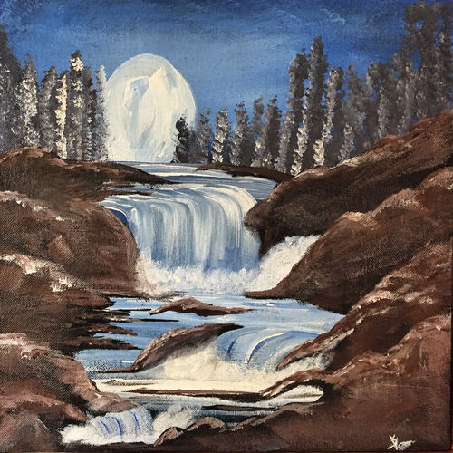 waterfall scene under the light of moon , 12 x 12 inch, swati verma,12x12inch,canvas,paintings,landscape paintings,acrylic color,GAL0422630768