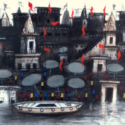 old varanasi ghat - ii, 11 x 7 inch, girish chandra vidyaratna,paintings,paintings for dining room,landscape paintings,paper,mixed media,11x7inch,GAL0363077