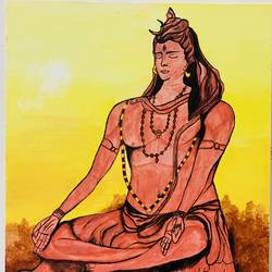 lord shiva, 16 x 20 inch, geetanjali buddha,16x20inch,canvas,religious paintings,acrylic color,GAL01913030780