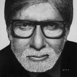 into the world of realism -  pencil portrait sketch of amitabh bachchan, 17 x 12 inch, sagar gondhali,17x12inch,thick paper,drawings,documentary drawings,fine art drawings,photorealism drawings,portrait drawings,realism drawings,paintings for dining room,paintings for living room,paintings for bedroom,paintings for office,paintings for bathroom,paintings for kids room,paintings for hotel,paintings for kitchen,paintings for school,paintings for hospital,charcoal,natural color,graphite pencil,paper,GAL01920730784
