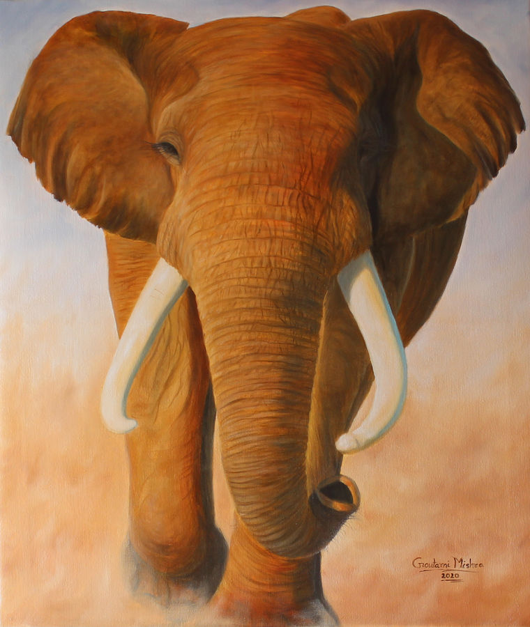 elephant - wild life oil painting, 25 x 30 inch, goutami mishra,25x30inch,canvas,paintings,wildlife paintings,nature paintings | scenery paintings,impressionist paintings,photorealism paintings,photorealism,realism paintings,animal paintings,realistic paintings,elephant paintings,paintings for dining room,paintings for living room,paintings for bedroom,paintings for office,paintings for kids room,paintings for hotel,paintings for school,oil color,GAL046530786